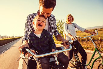 Image of family riding bicycles
